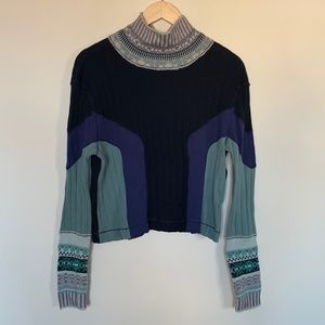 Free People Long Sleeve Color Block Top Sweater